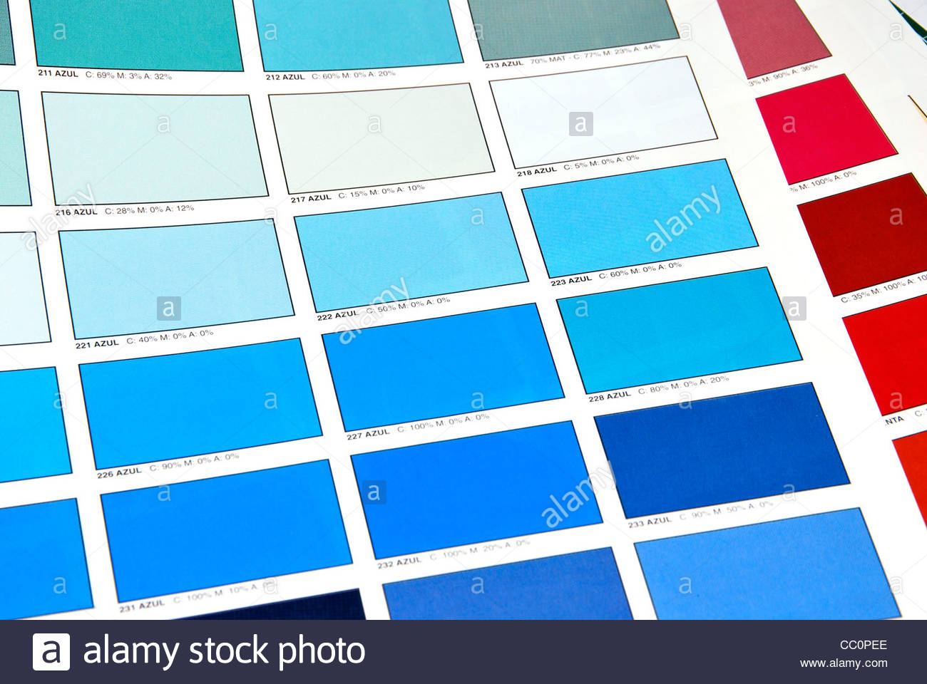Color patches printed by offset system on a book of colors - Stock Image