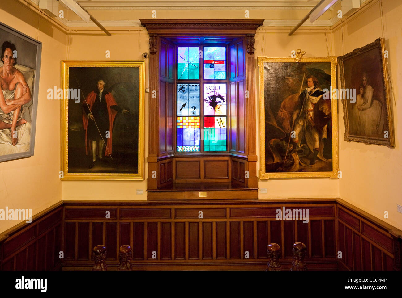 Staircase, Stained Glass Windows, and Paintings Interior of the Crawford Art Gallery, Cork City, Ireland - Stock Image