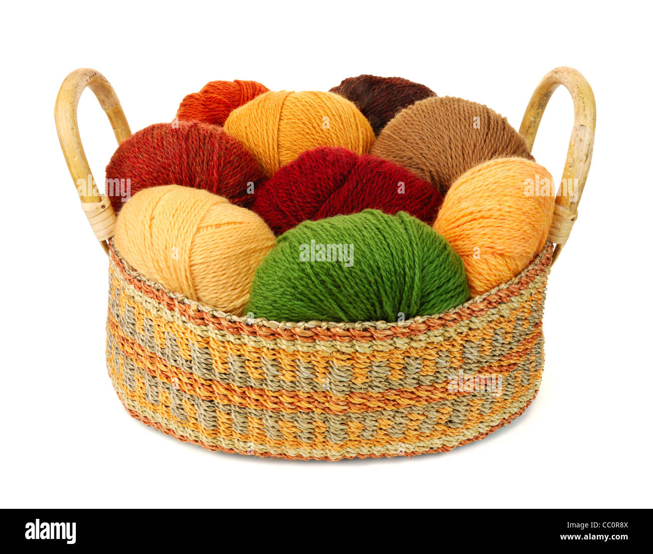 basket of wool yarn from iceland in earth tones - Stock Image