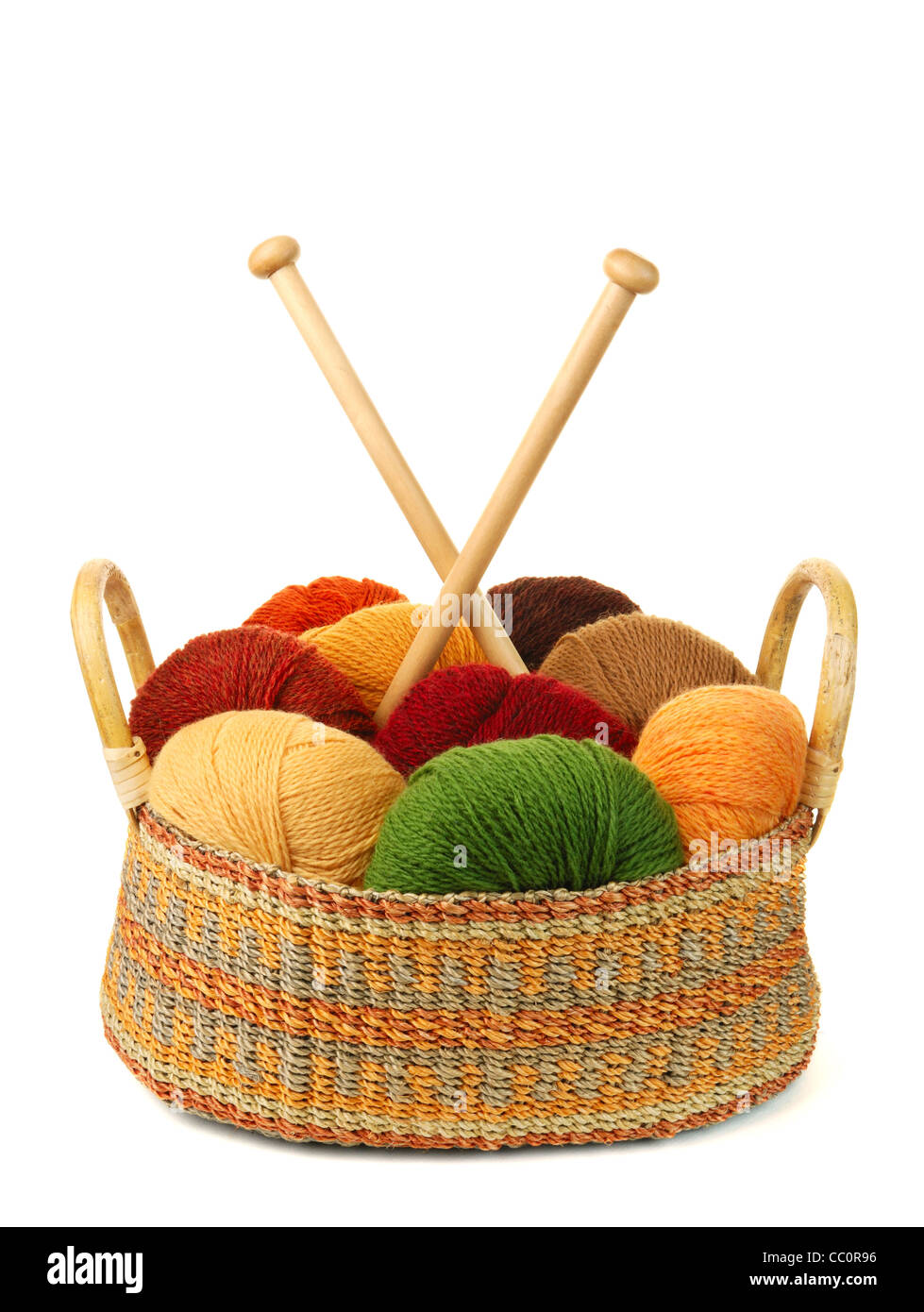 basket of wool yarn from iceland, with knitting needles - Stock Image