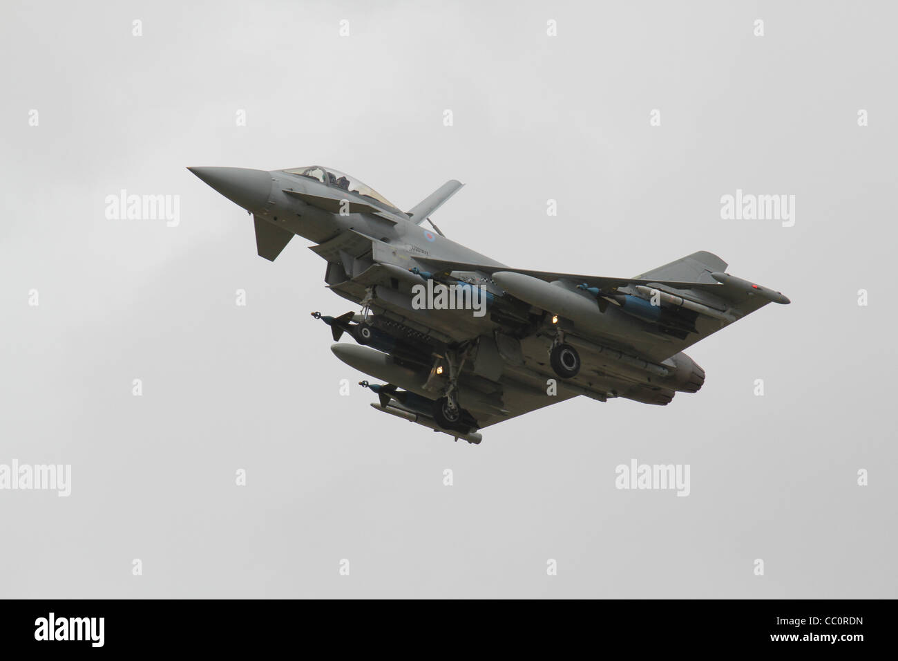 Eurofighter Typhoon FGR4 with full weapons array at RIAT 2011 - Stock Image