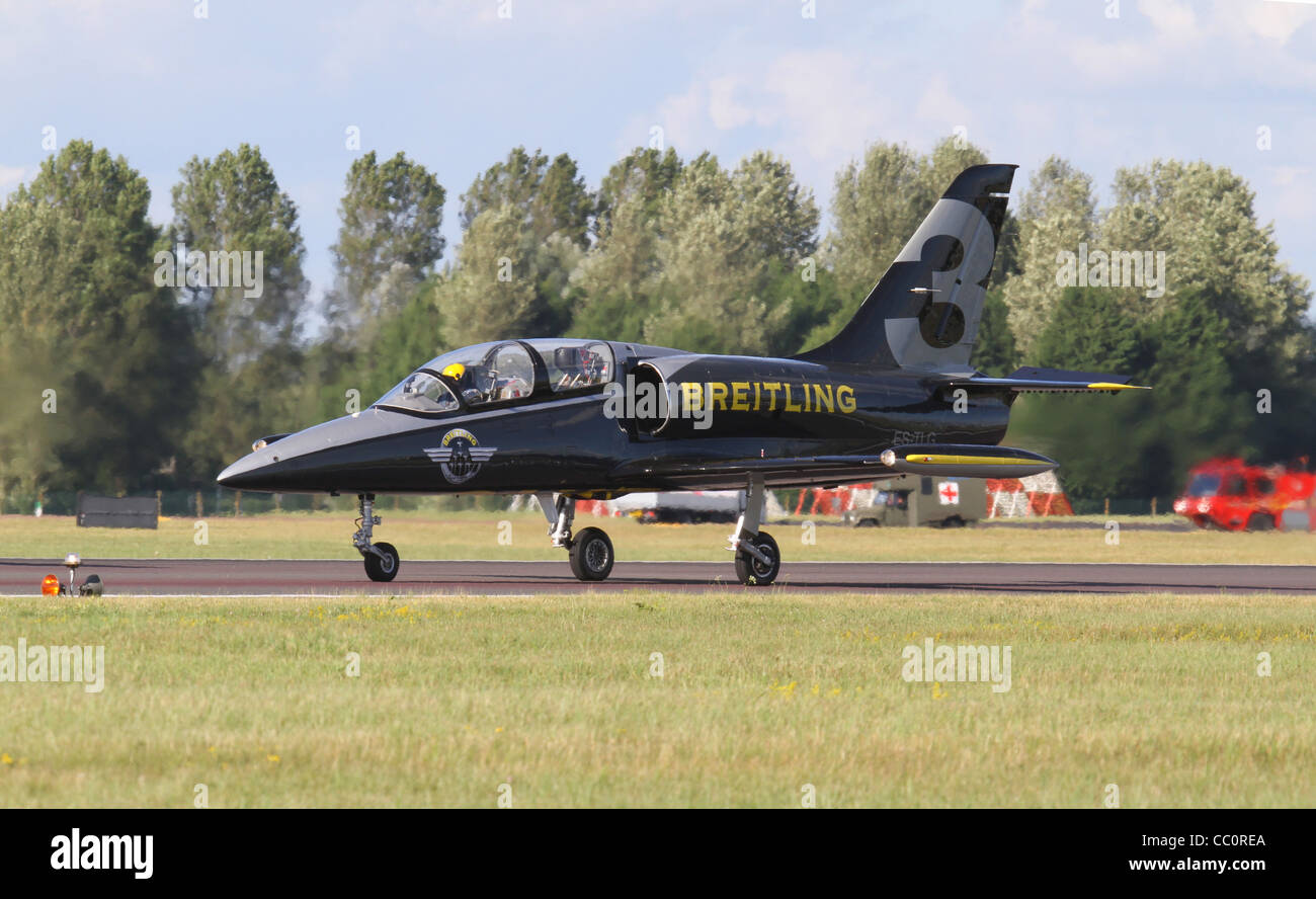 Aero L-39 Albatros jet  One of the the Breitling Jet Team is the largest civilian aerobatic display team in Europe. - Stock Image