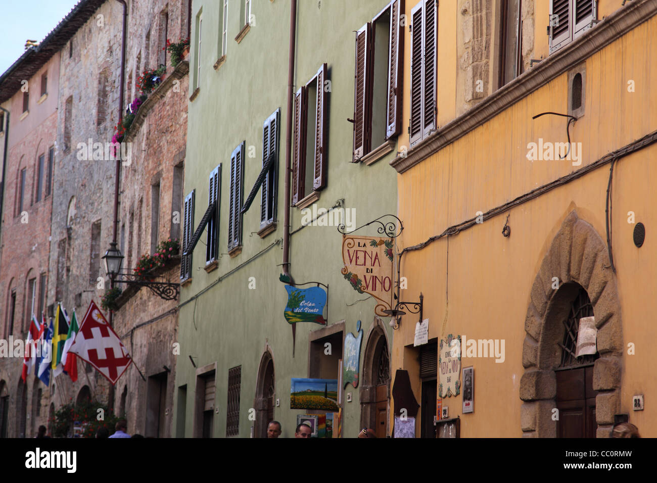 Colourful shop fronts in Volterra - Stock Image