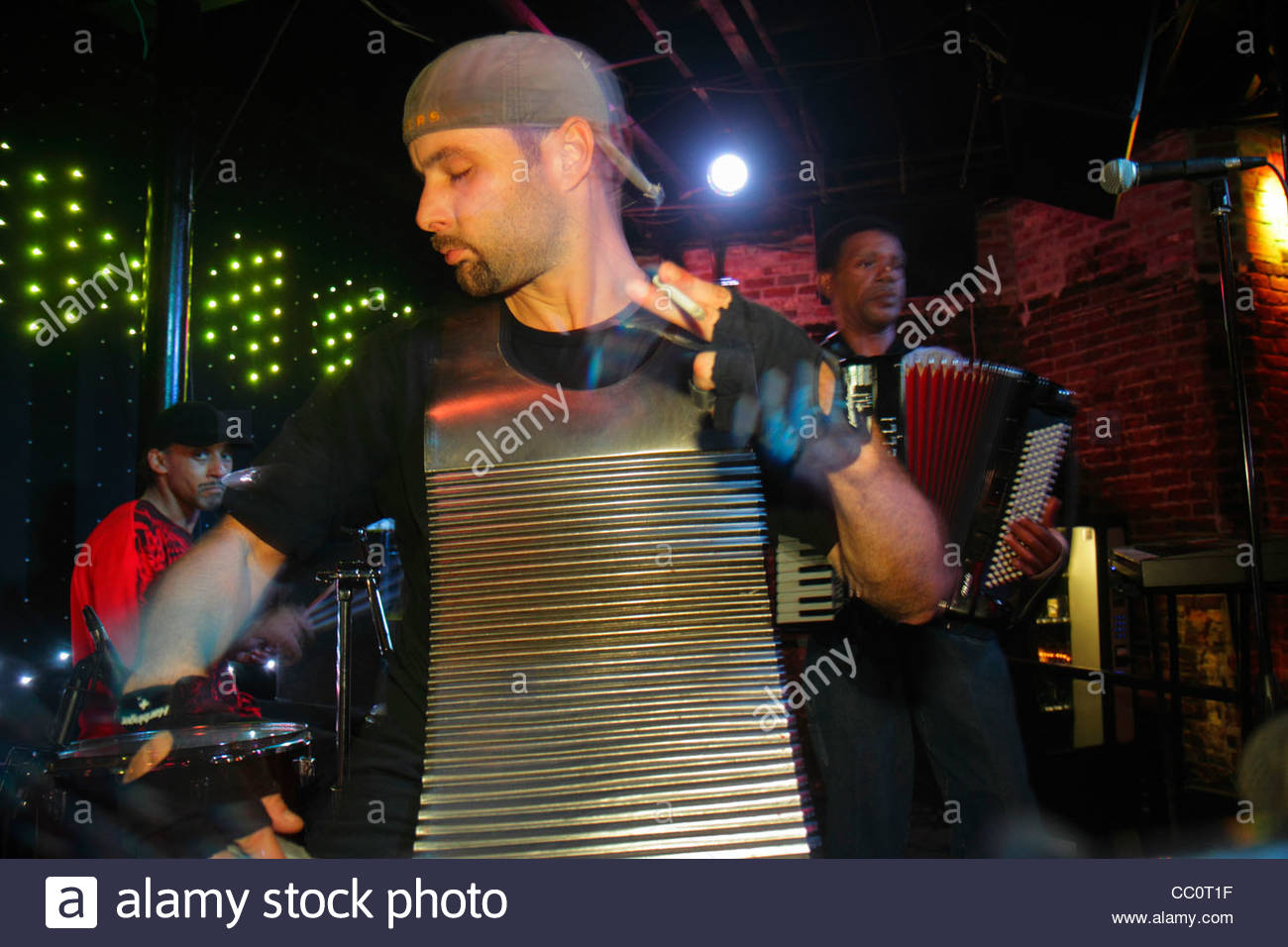 New Orleans Louisiana French Quarter Bourbon Street business bar nightlife live music entertainment perform musician - Stock Image