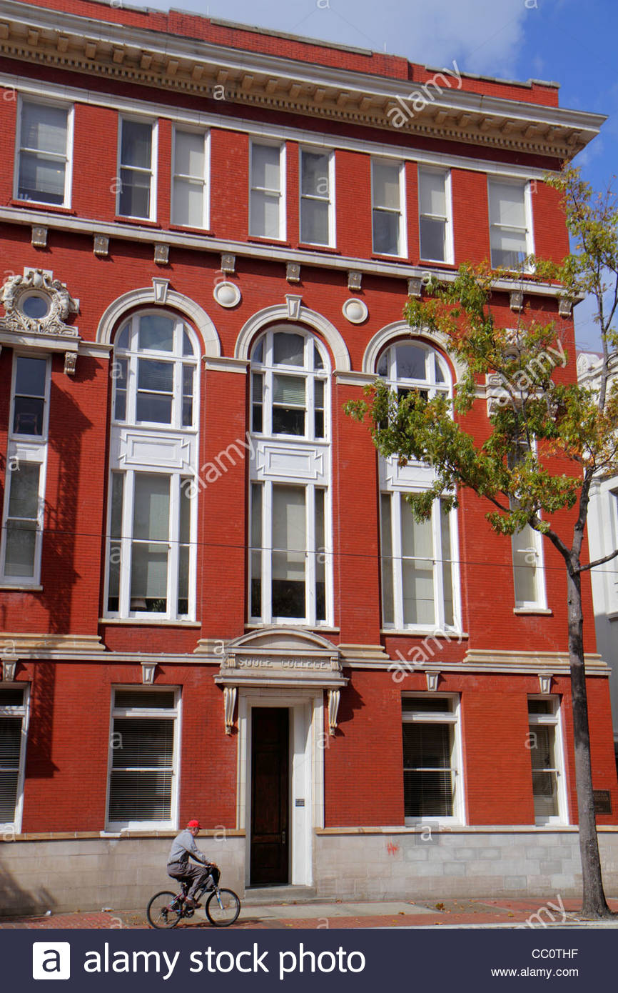New Orleans Louisiana 602 St. Charles Avenue Lafayette Square Soule College building red brick architecture arched - Stock Image