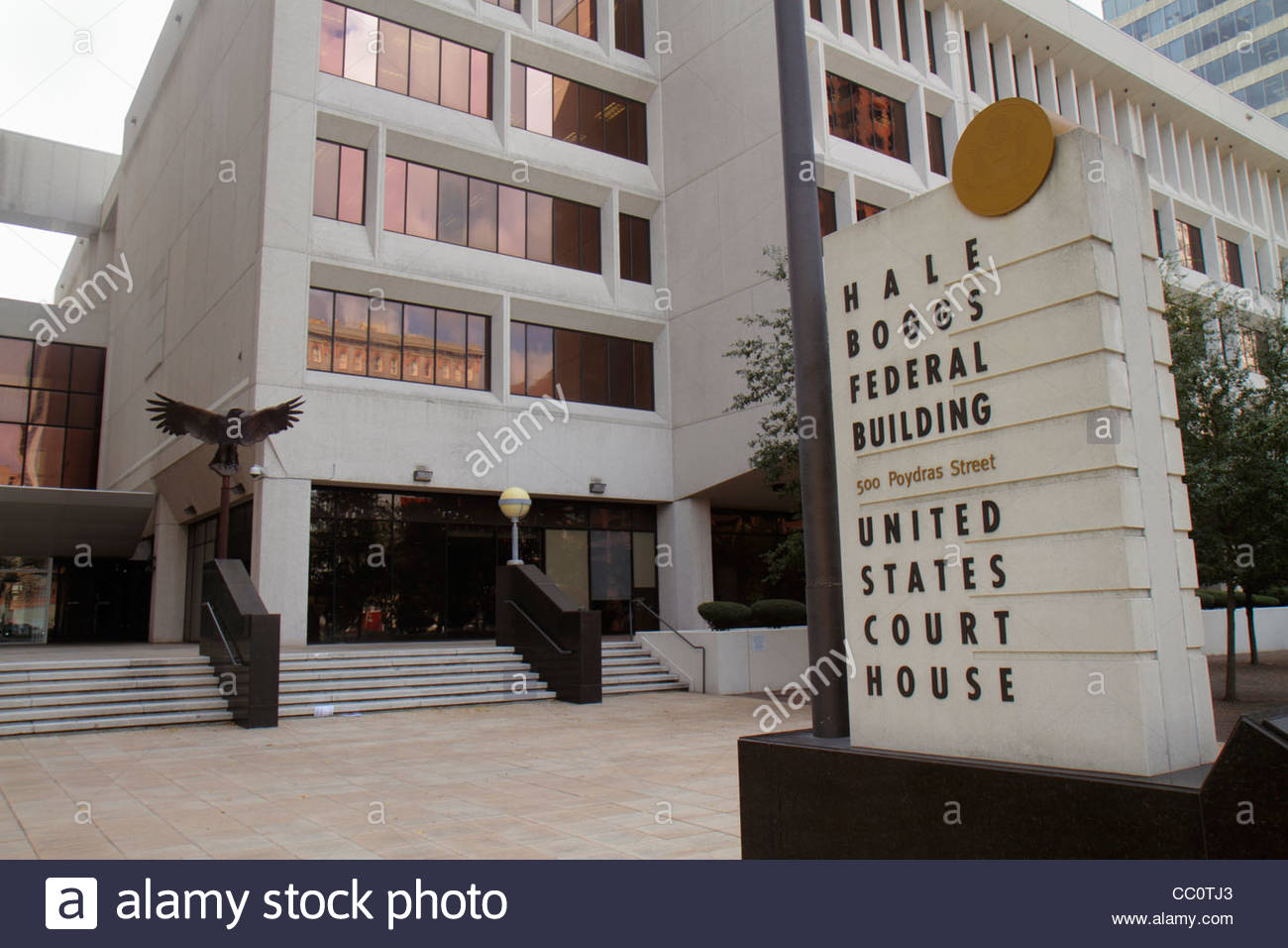 New Orleans Louisiana Poydras Street Hale Boggs Federal Building government United States Courthouse eagle plaza - Stock Image