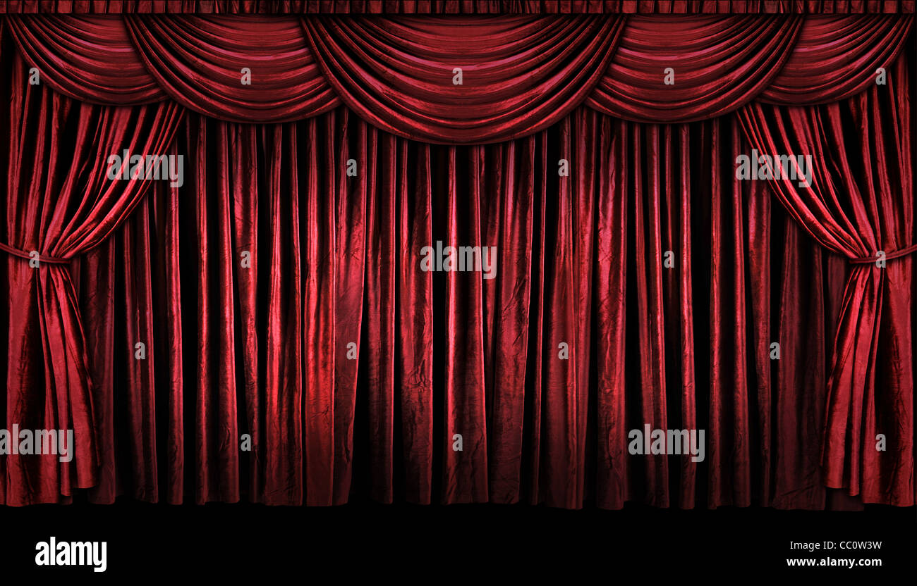 Bright red curtains on stage with lights and shadows Stock Photo