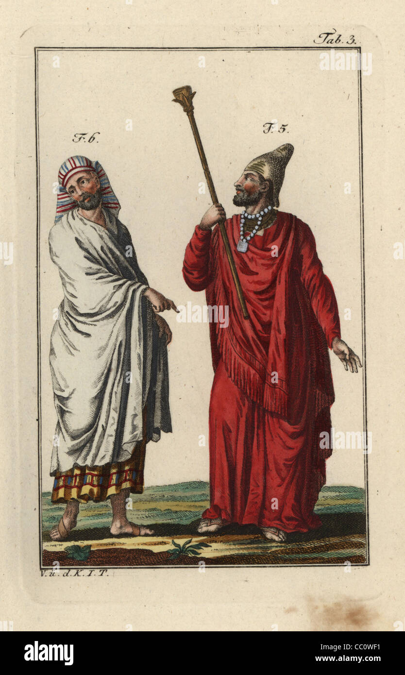An Egyptian king or pharaoh and an Egyptian man in full dress. - Stock Image