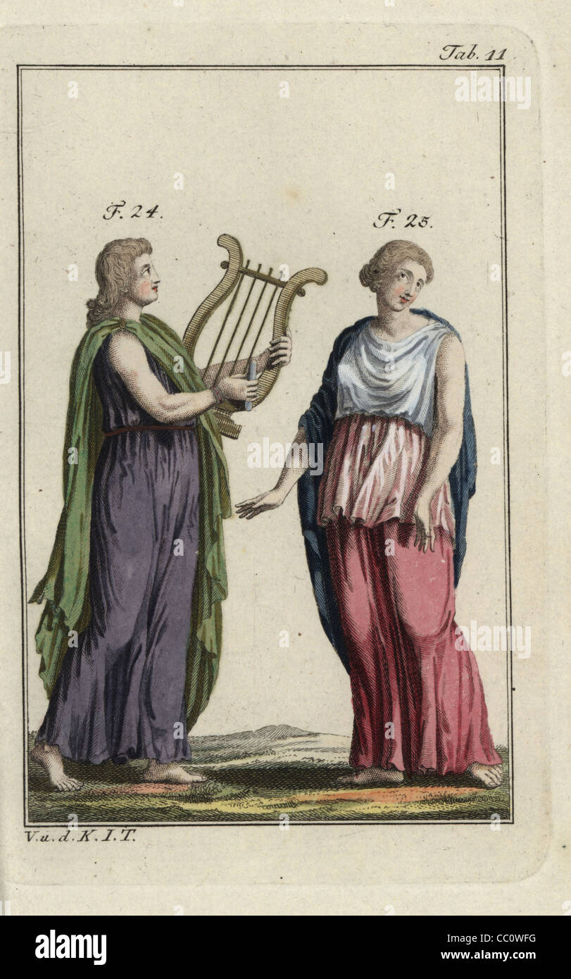 Emperor Nero playing a harp and woman in Greek cloak, Peplos. - Stock Image