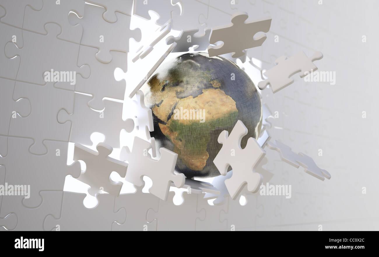 Metallic earth globe crashing through a wall build of jigsaw puzzle metallic earth globe crashing through a wall build of jigsaw puzzle pieces gumiabroncs Image collections