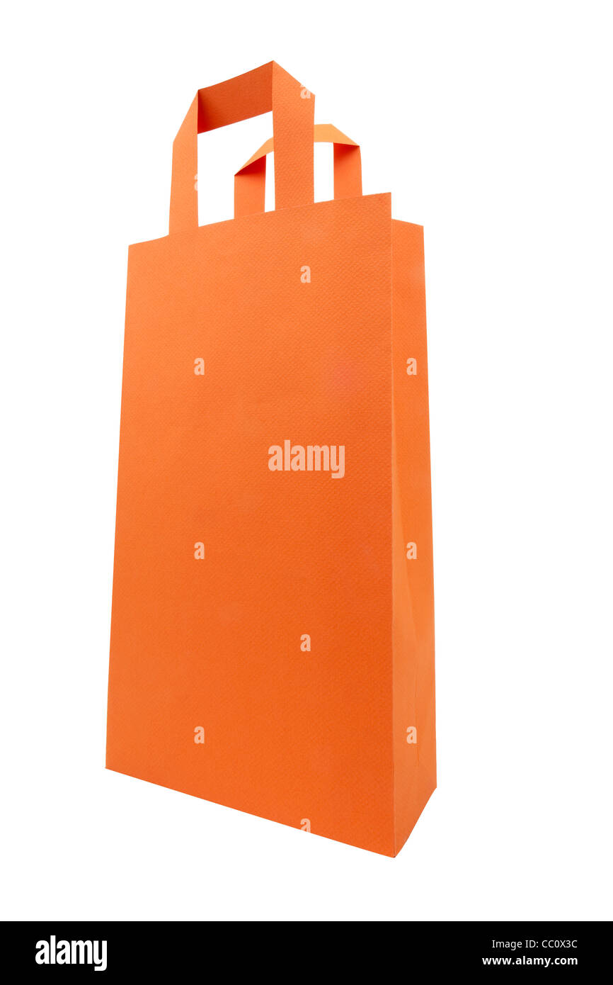 One orange shopping bag on dominate angle point of view - Stock Image