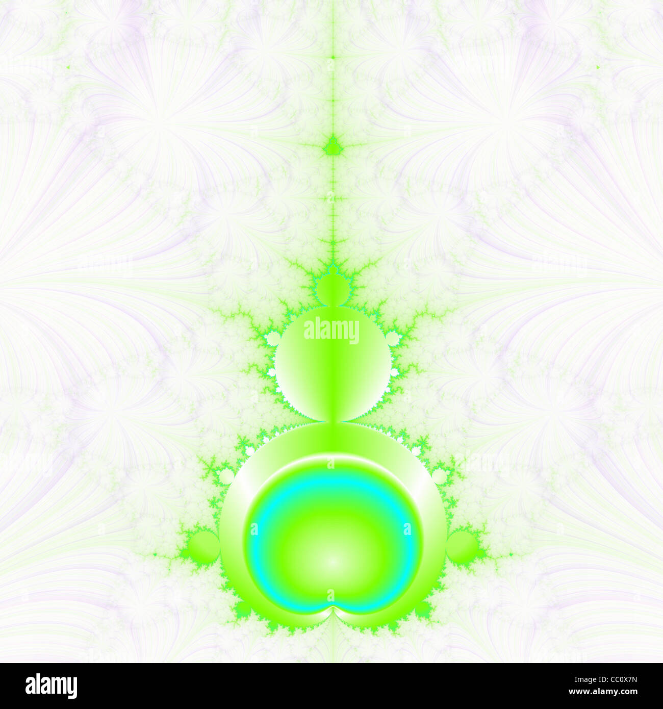 Mandelbrot in Green and Blue - Stock Image