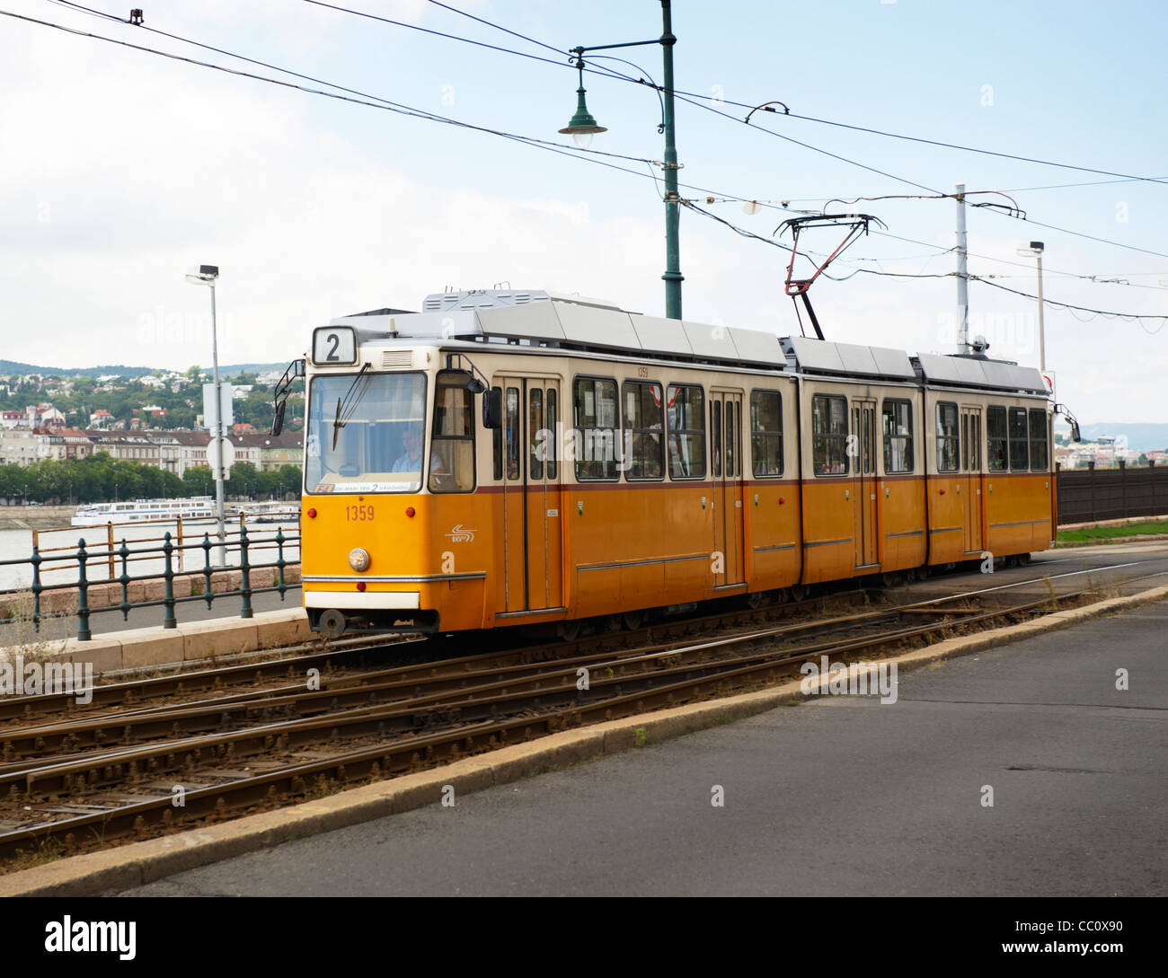 Electric trams form part of the public transport system in Budapest, Hungary, Europe Stock Photo