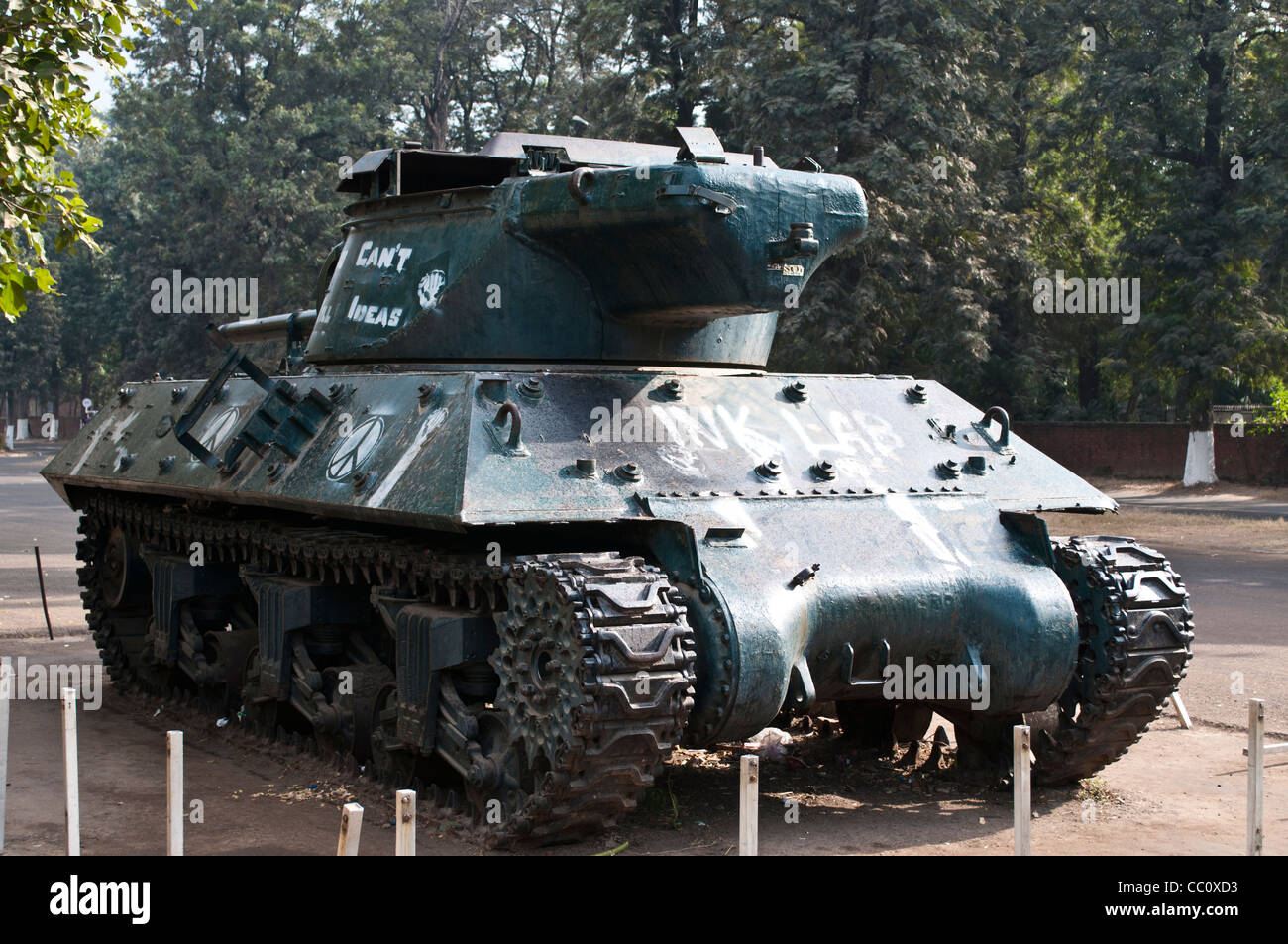 Captured Pakistani army tank in front of Museum and Art Gallery, Chandigarh, India - Stock Image