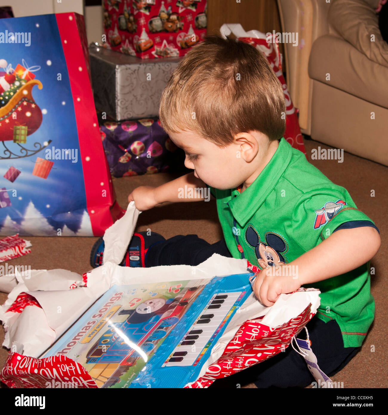 2 Year Old Young Child Boy Infant Toddler Opening A Xmas Christmas ...