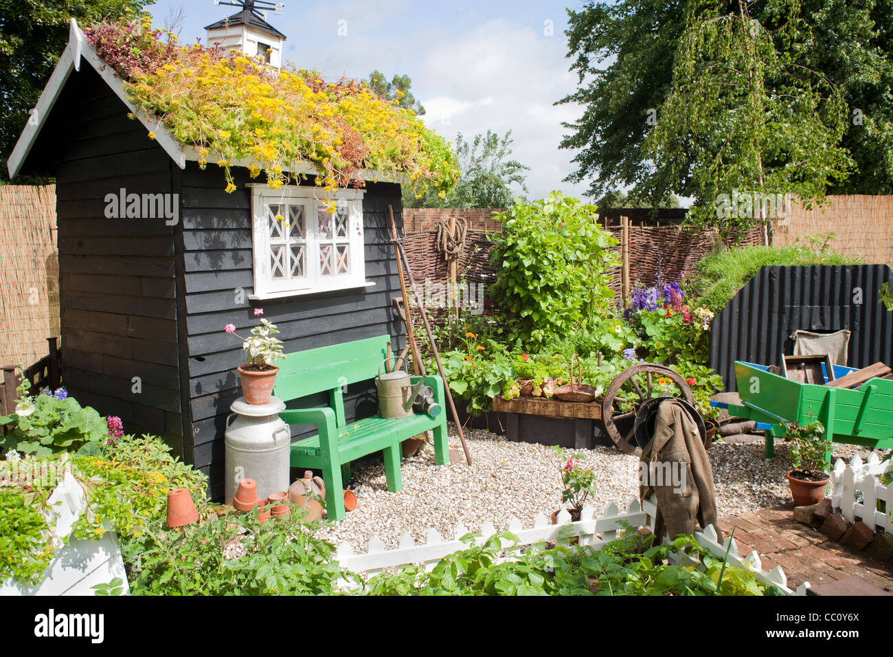 Small kitchen garden with black painted shed and edible border. - Stock Image