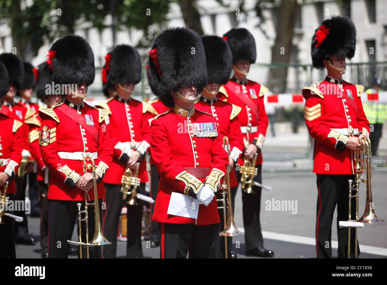 cc234db169a Military band wearing bearskin hats on Veterans  day in London