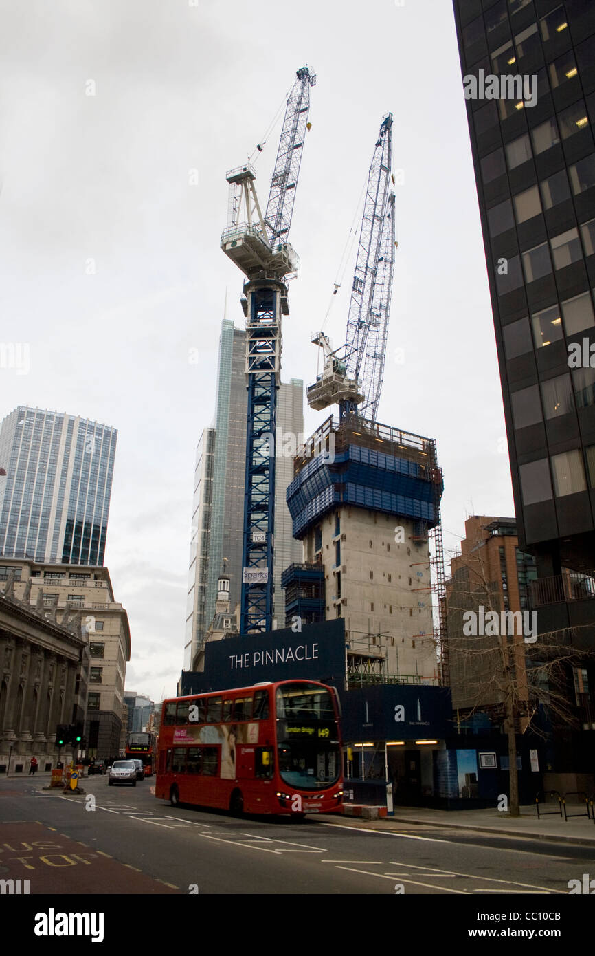Cranes on the site of the new Pinnacle building on Bishopsgate Central London UK - Stock Image
