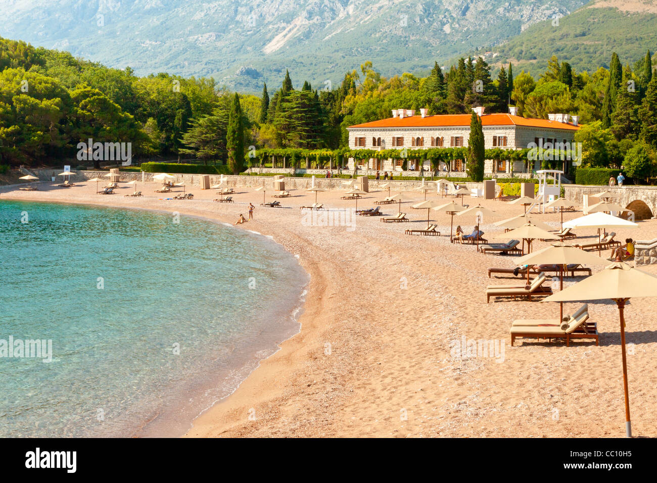 Montenegro, beauty expensive hotel in Sveti Stefan - Balkans Europe - Stock Image