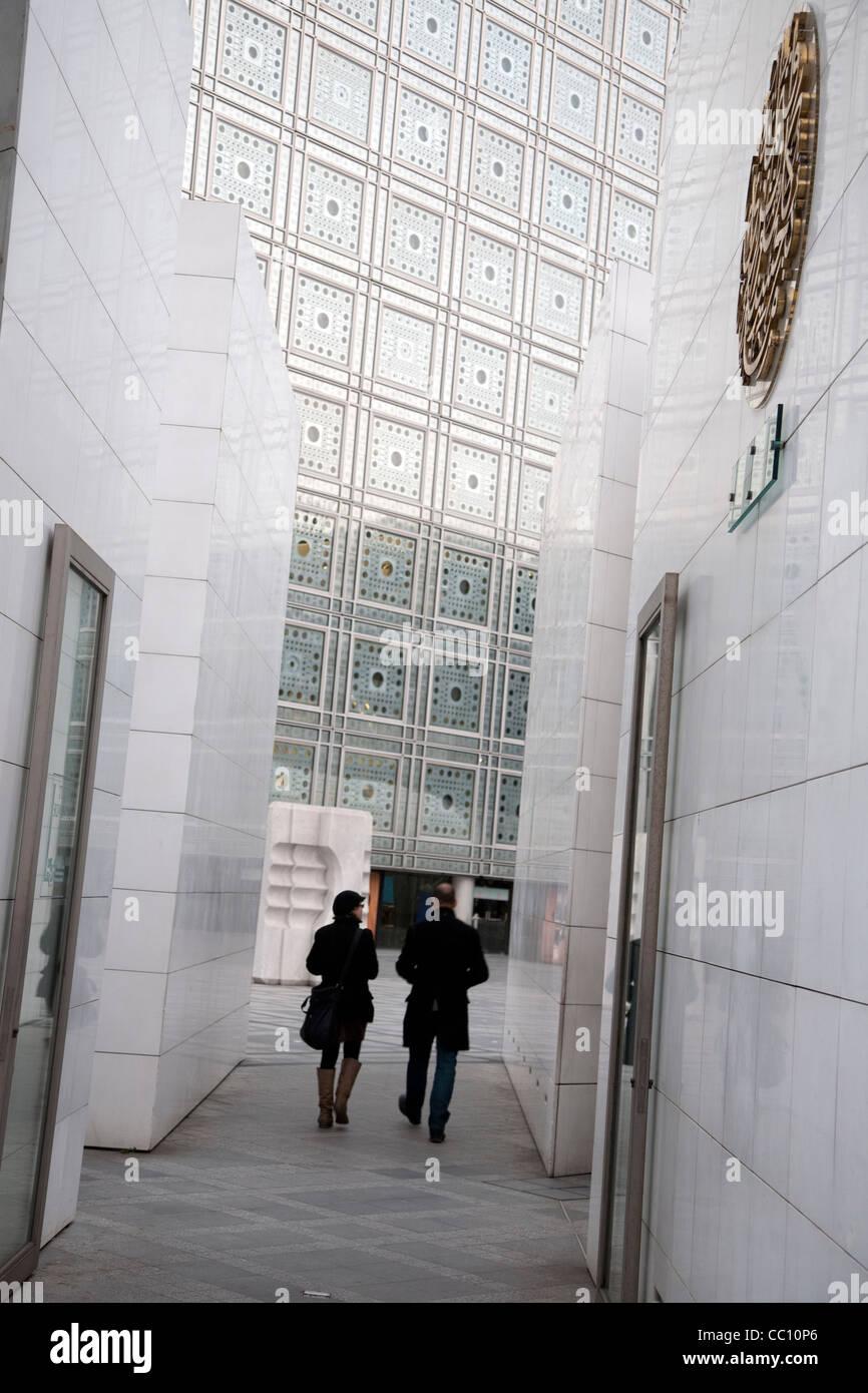Entrance to Institut du Monde Arabe, Arab World Institute, Paris, France - Stock Image