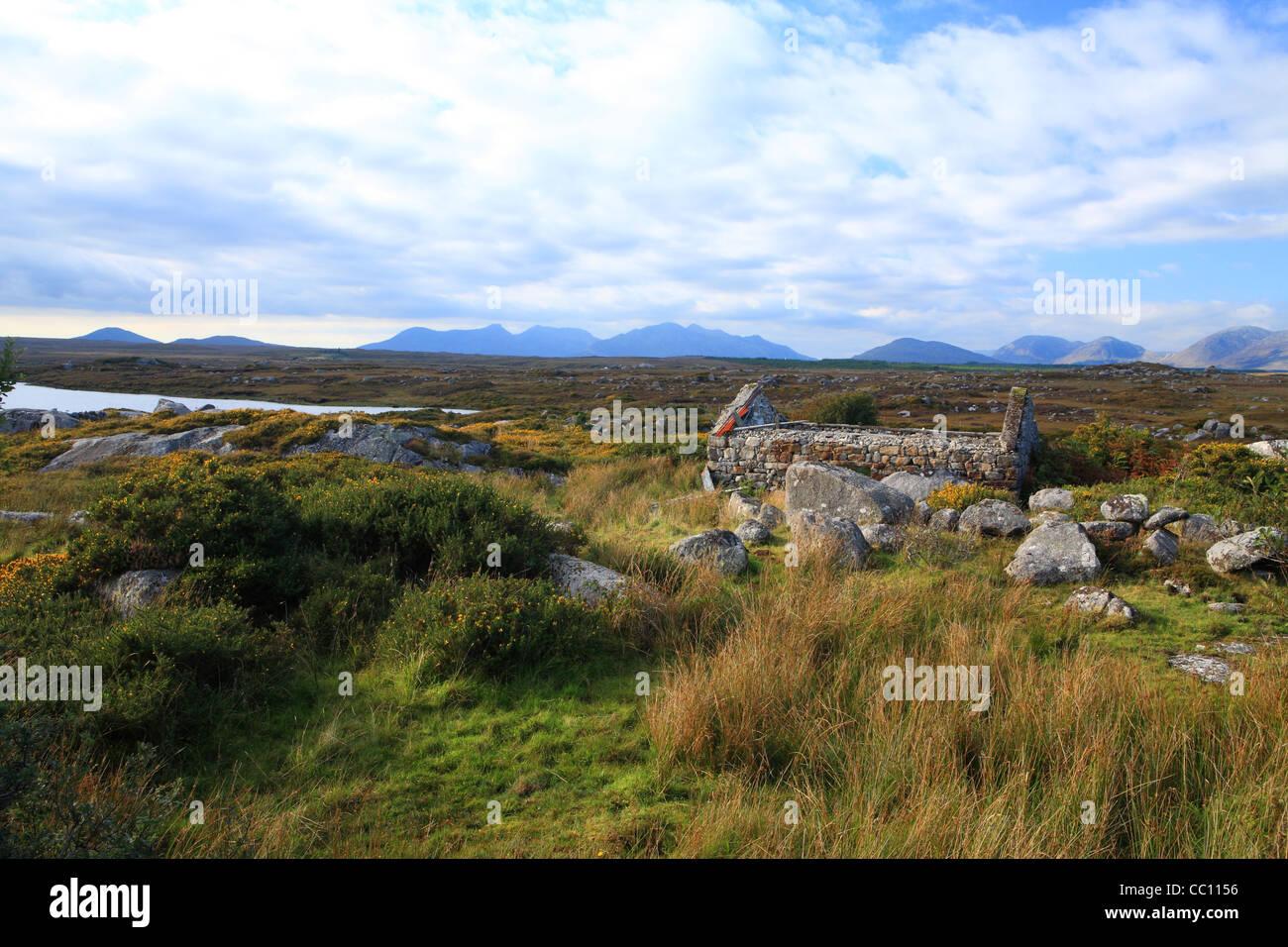 Traditional Irish cottage ruin and Twelve Bens. Connemara. Ireland - Stock Image