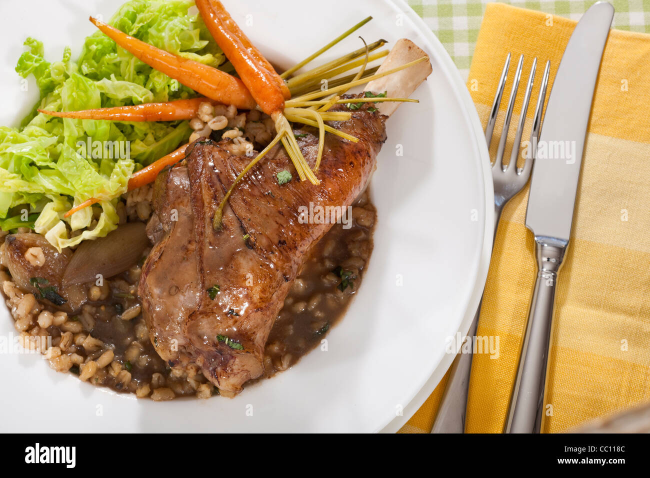 Lamb Shank,Carrots, - Stock Image