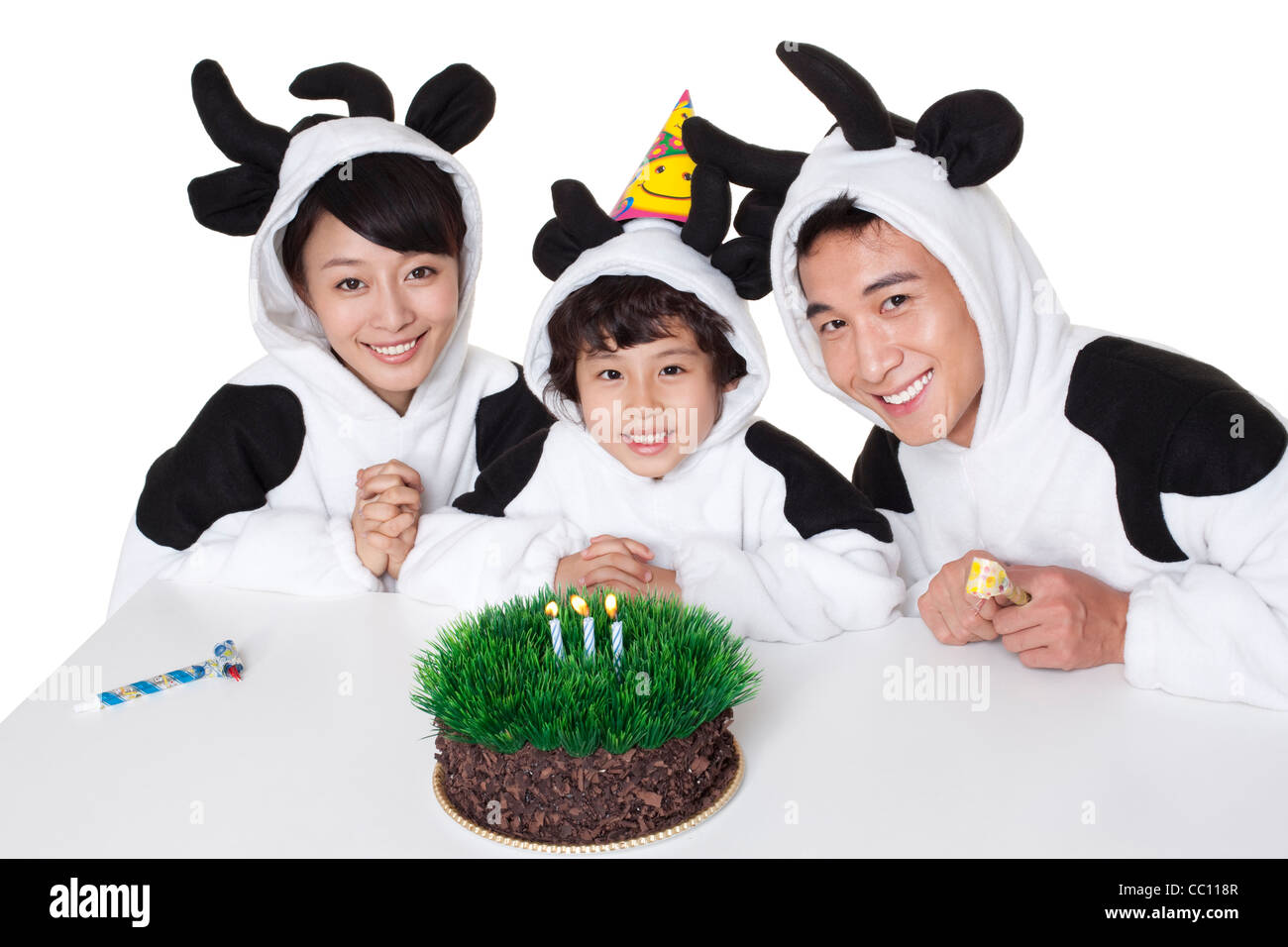 Swell Family In Cow Costumes With A Grass Birthday Cake Stock Photo Funny Birthday Cards Online Overcheapnameinfo