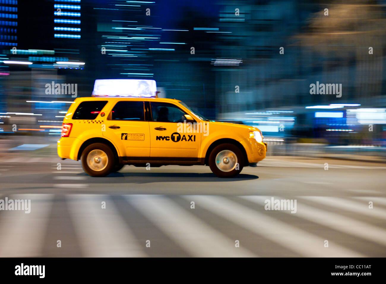 Yellow cab at street. Taxi Cab Manhattan, New York, USA. - Stock Image