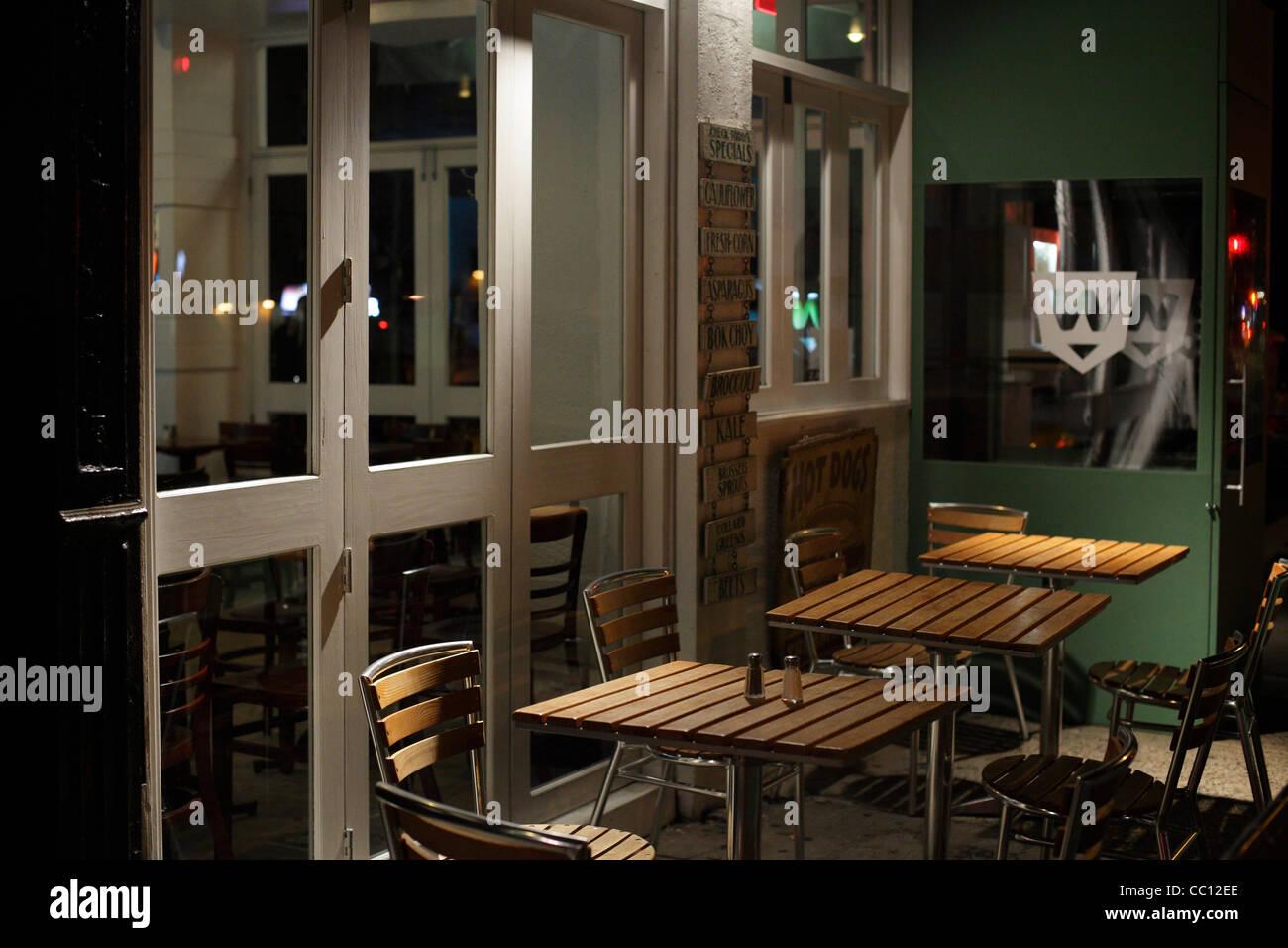Sidewalk Cafe East Village New York - Stock Image