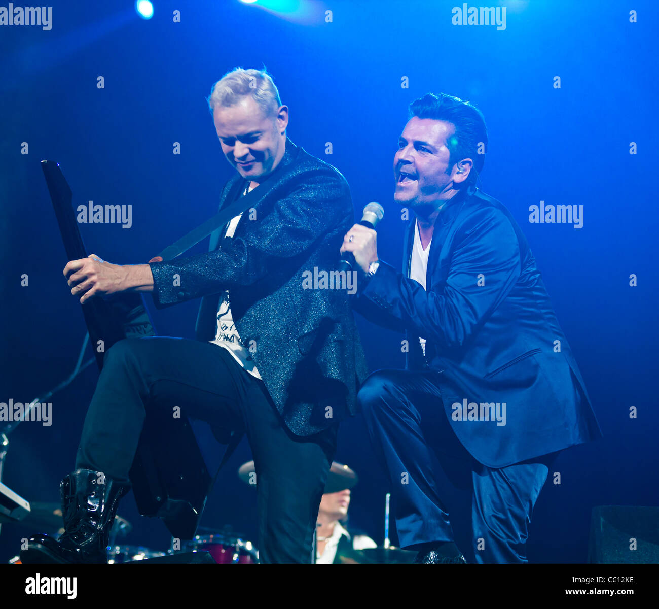 Singer Thomas Anders (r) and songwriter, producer Uwe Fahrenkrog-Petersen (l) perform at Sixday-Nights Zürich - Stock Image