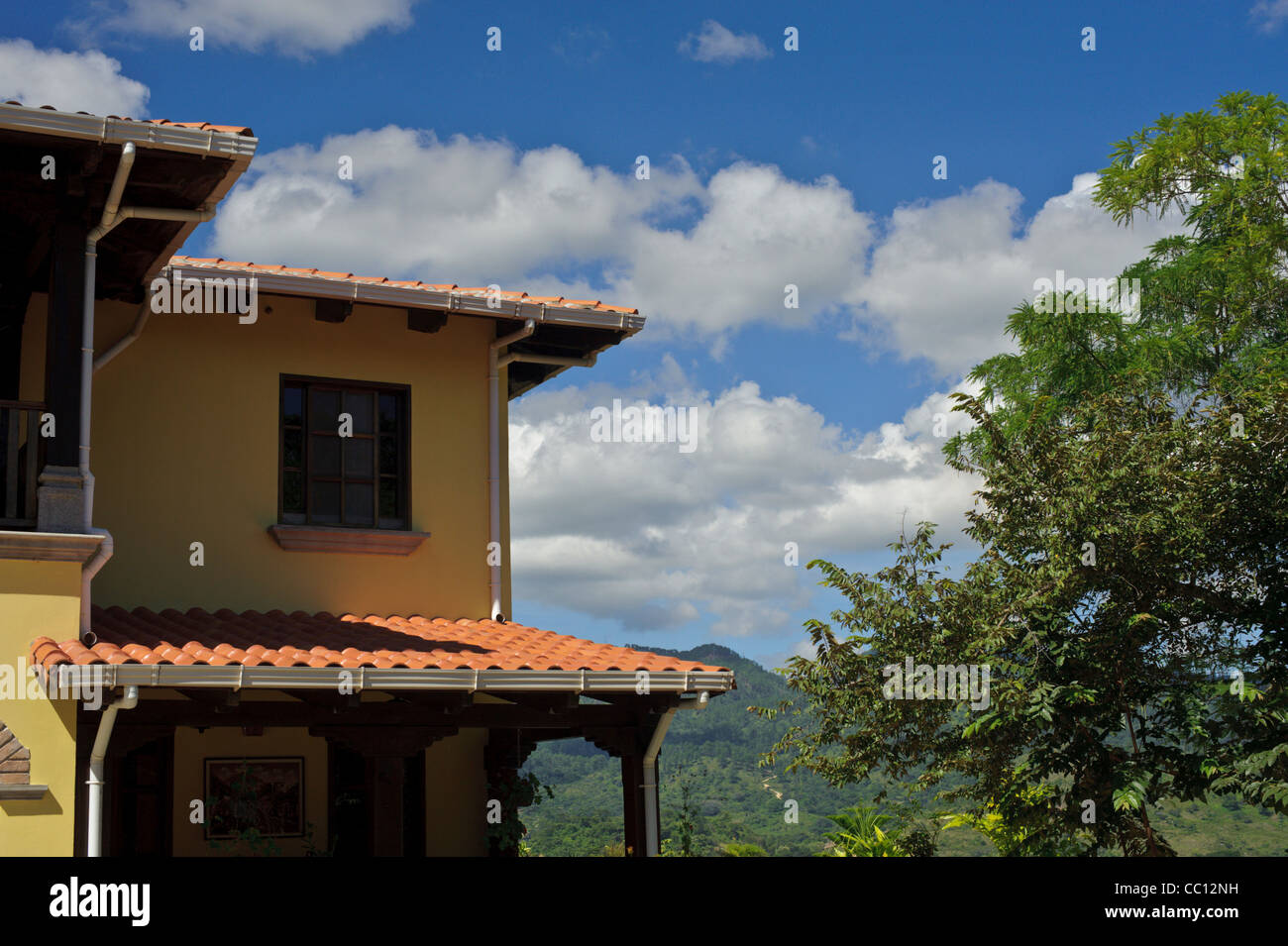 Spanish style home on a hill above Copan Ruinas Honduras - Stock Image