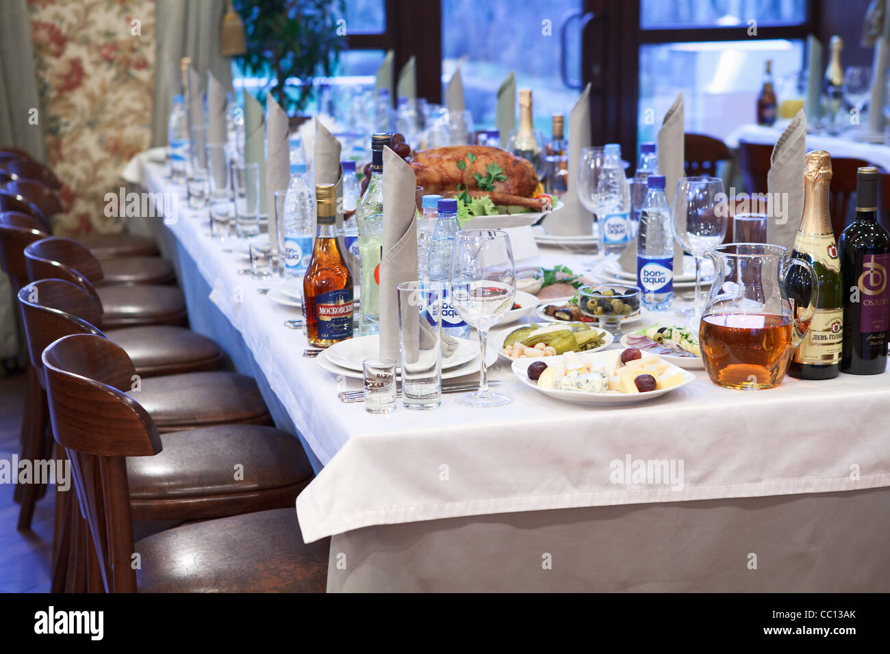 Russian Restaurant. Detail Of A Fancy Table Set For Christmas Dinner Party  For Lot Of Persons. Close Up View