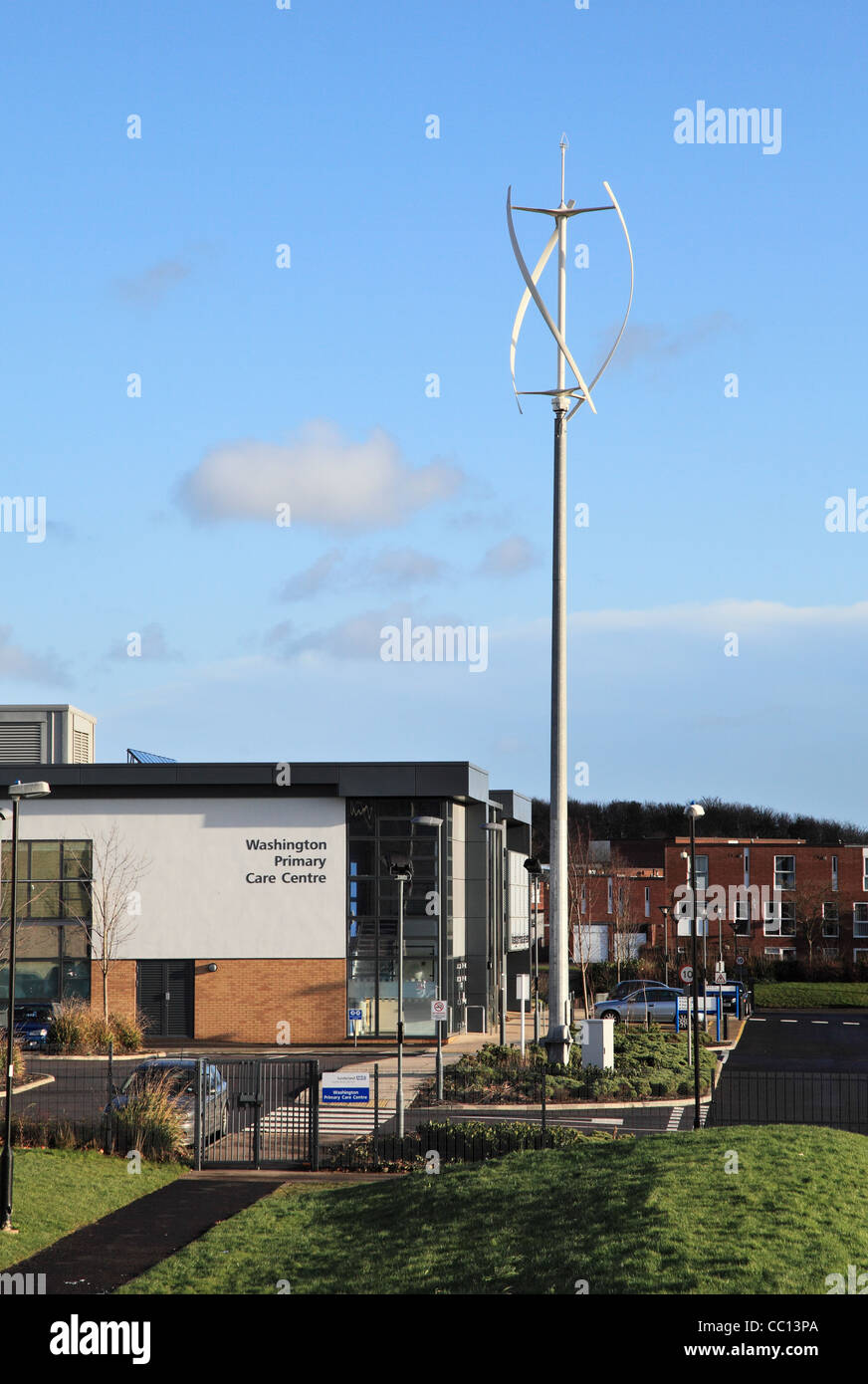 Washington Primary Care Centre with vertical axis wind turbine, north east England, UK - Stock Image