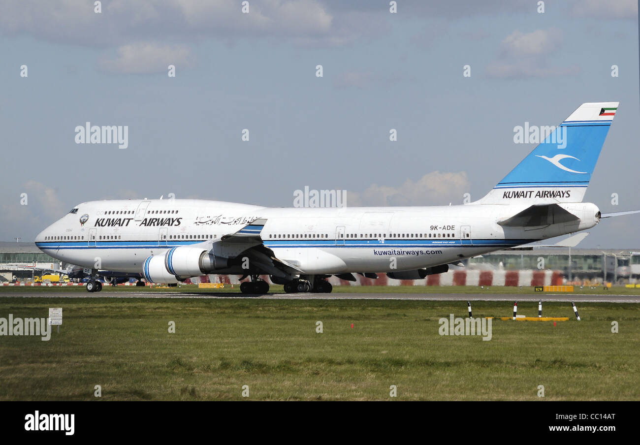Kuwait Airways Boeing 747-400M (9K-ADE) taxis to the take off point at London Heathrow Airport, - Stock Image