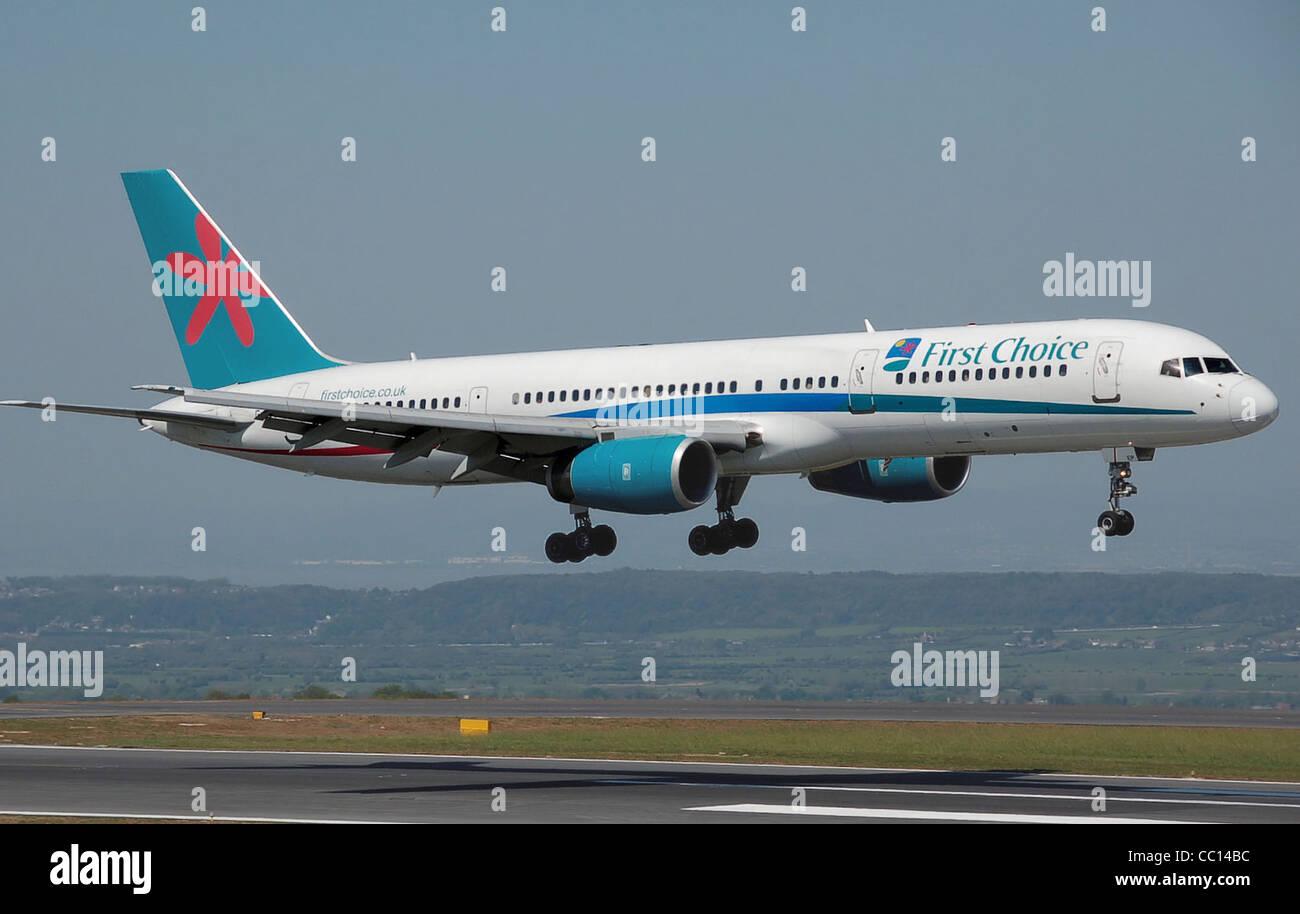 first choice airways boeing b757 200 g cpep lands at bristol stock