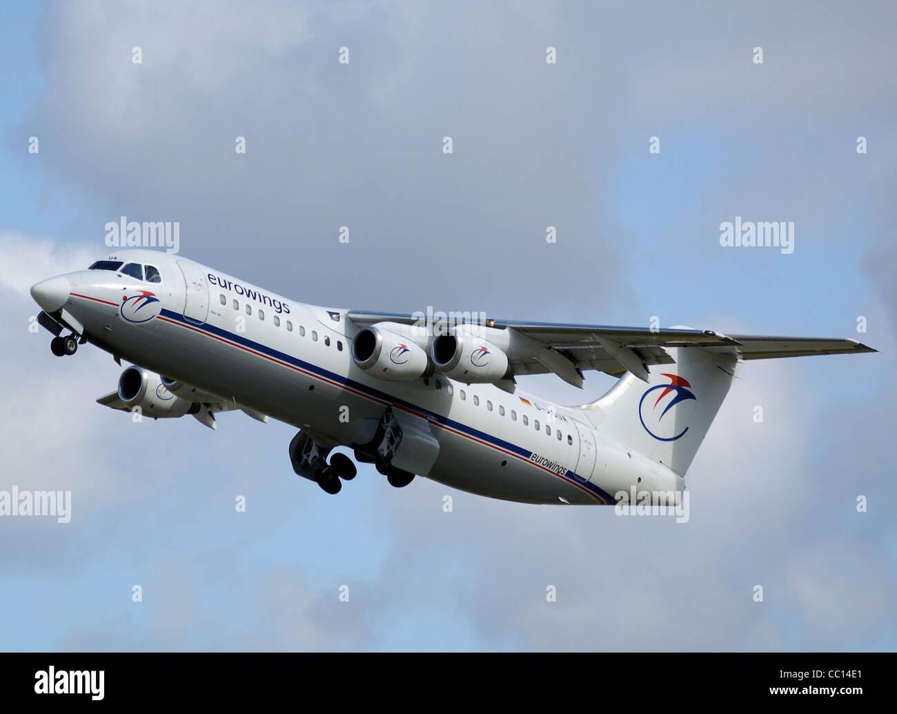 Eurowings British Aerospace 146-300 (D-AQUA) takes off from Bristol International Airport, Bristol, England. - Stock Image