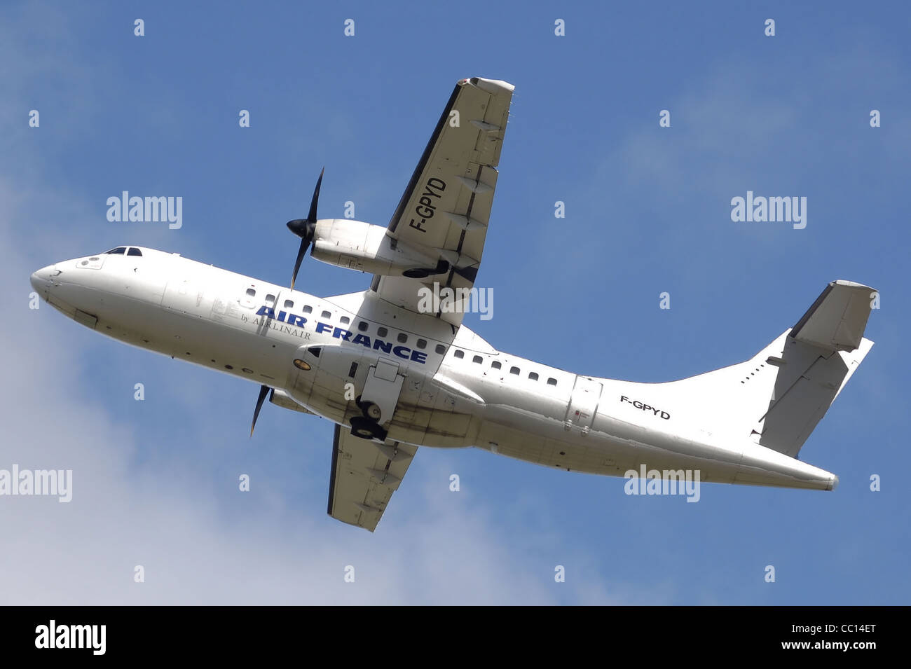 Air France ATR-42-500 (F-GPYD), operated on behalf of Air France by the airline Airlinair, takes off from Bristol - Stock Image