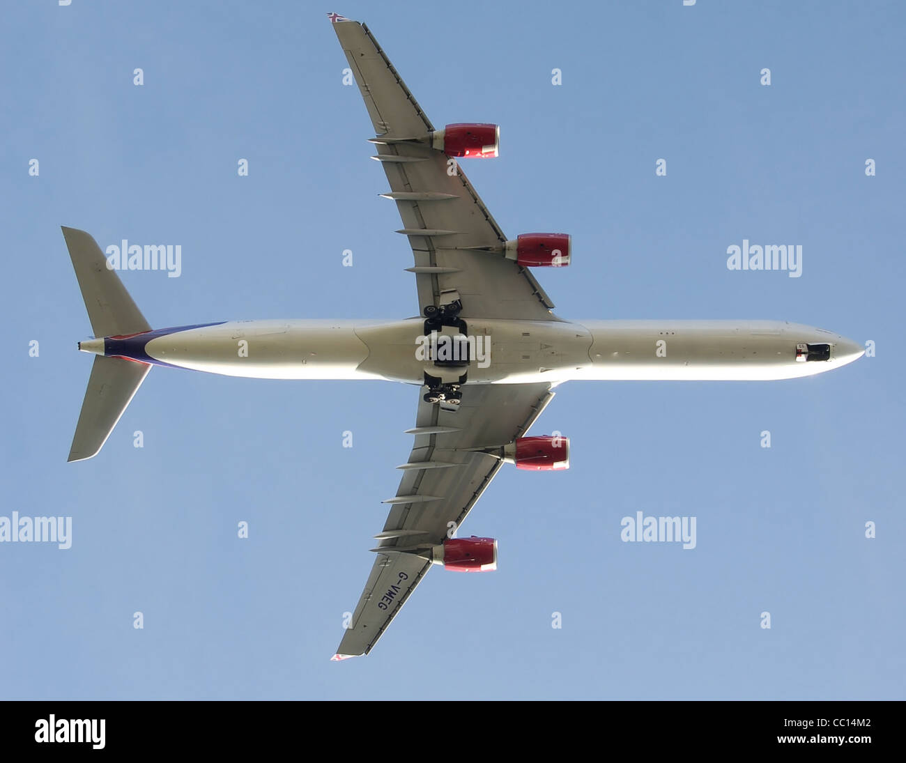 Virgin Atlantic Airbus A340-600 takes off from London Heathrow Airport, England. - Stock Image