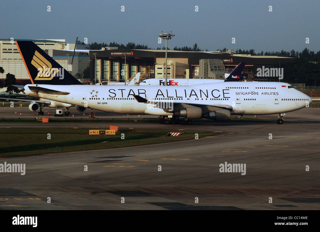 Singapore Airlines Boeing 747-4H6 (9V-SPR) taxiing at Singapore Changi Airport (SIN/WSSS). Stock Photo