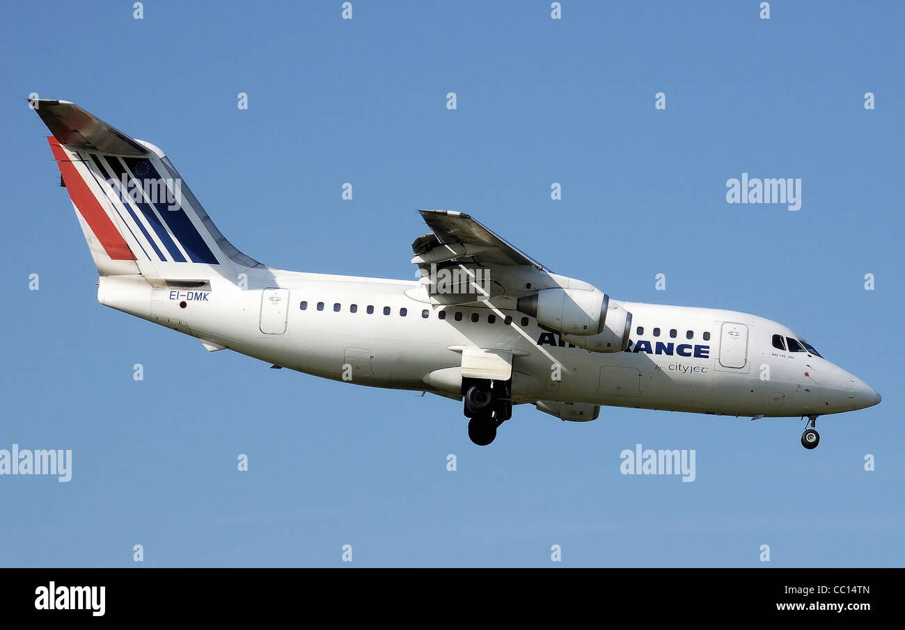 Air France (CityJet) British Aerospace 146-200 lands at Birmingham International Airport, England - Stock Image