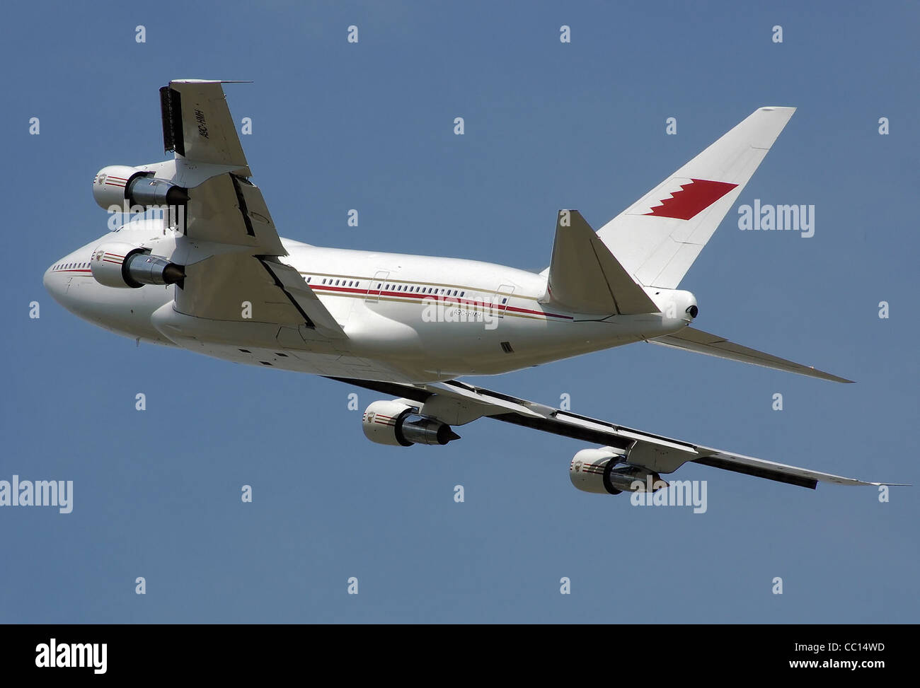 Bahrain Royal Flight Boeing 747SP-21 (A9C-HMH) taking off from London Heathrow Airport. - Stock Image