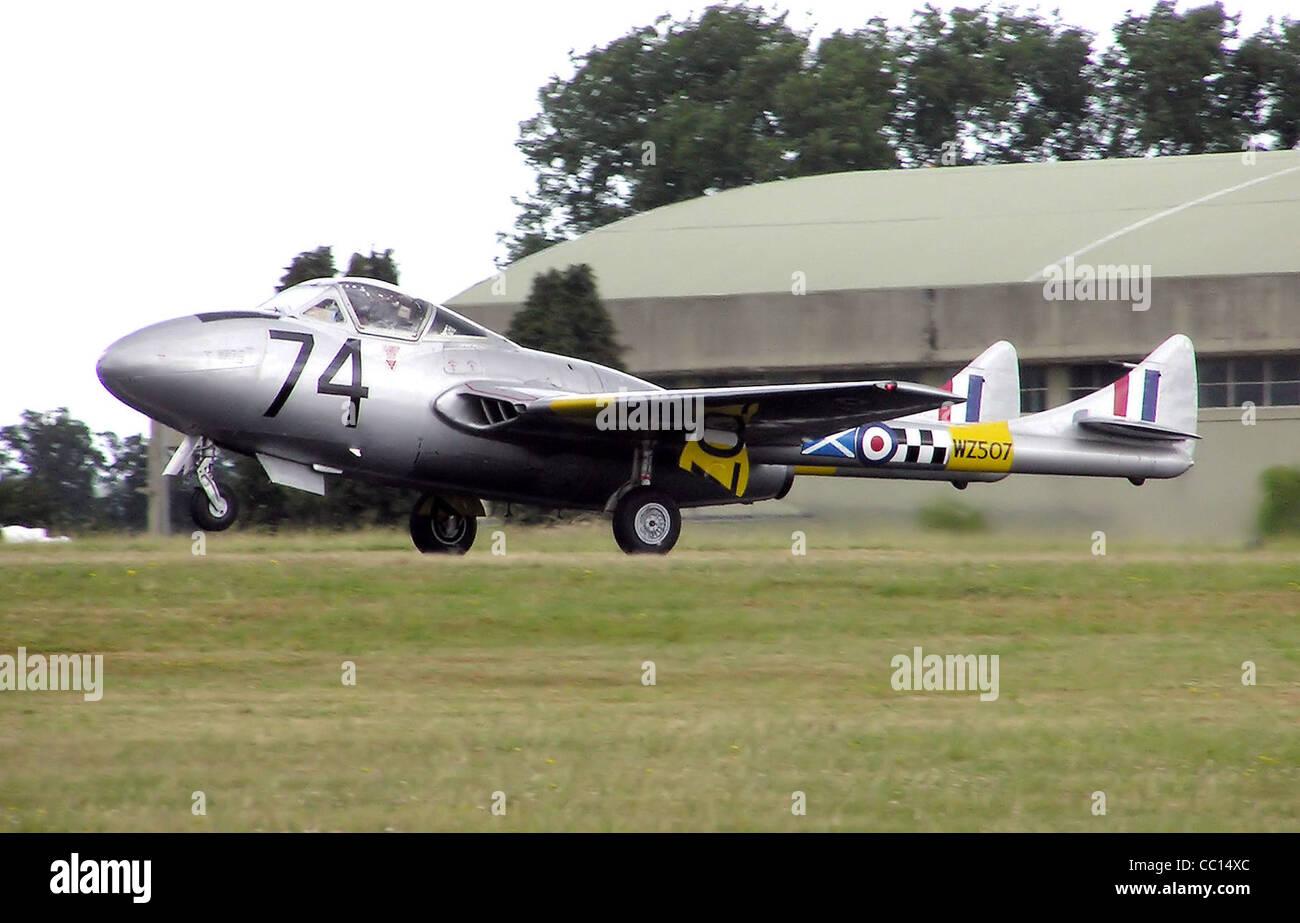 de Havilland Vampire T11 at Kemble Air Day, Gloucestershire, England. - Stock Image