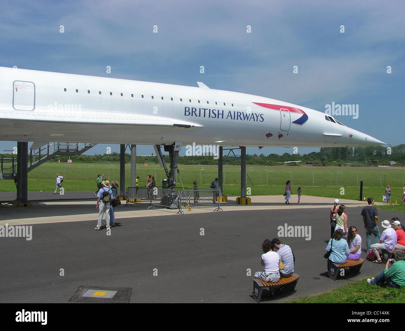 Preserved ex-British Airways Concorde (G-BOAF) at Filton Airfield, Bristol, England. This aircraft first flew on - Stock Image