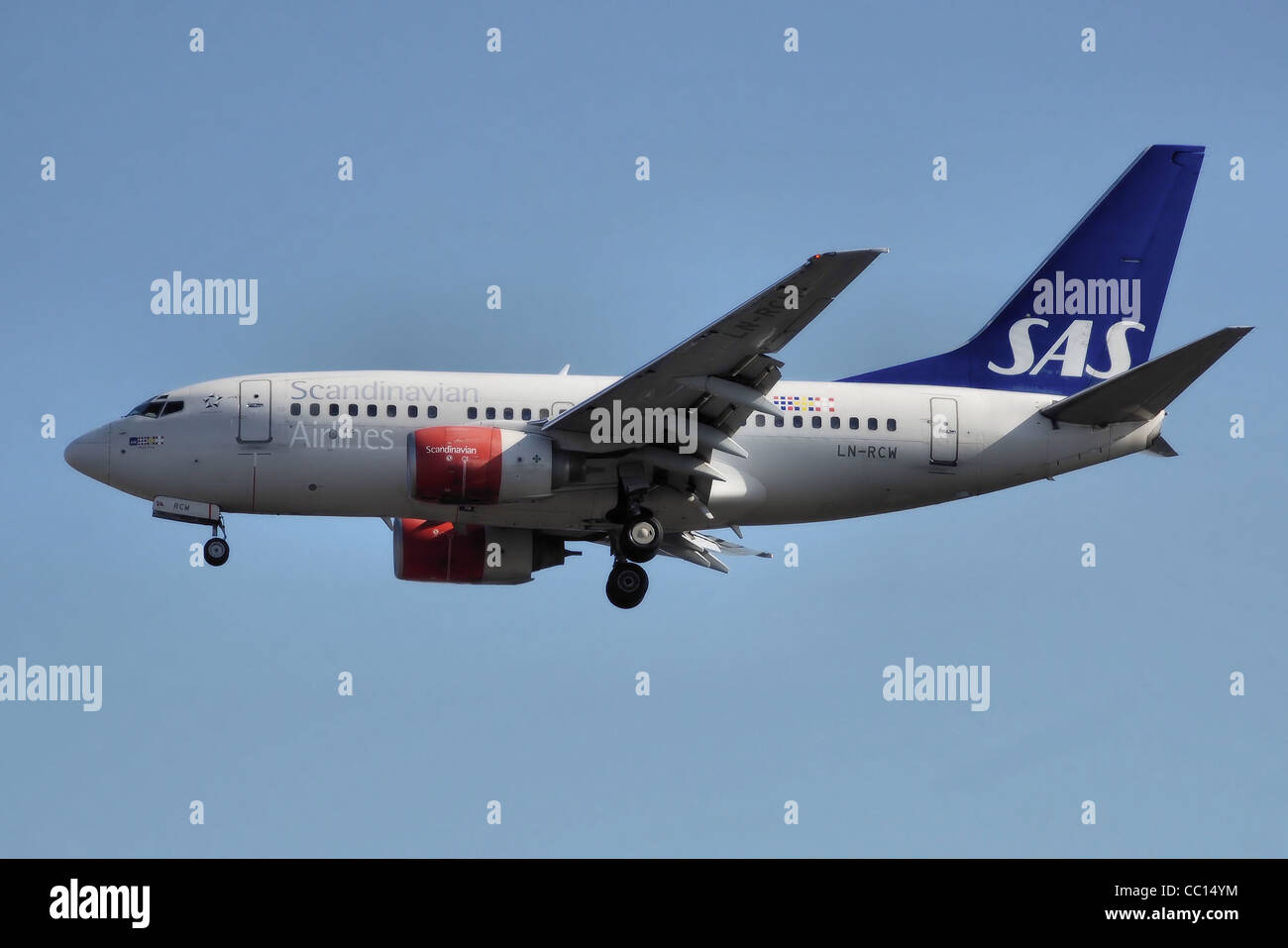 SAS Scandinavian Airlines Boeing 737-600 (LN-RCW) lands at London Heathrow Airport, England. - Stock Image