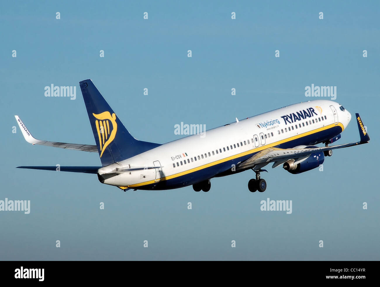 Ryanair Boeing 737-800 (EI-CSV), marked Nykoping, takes off from London Luton Airport, England. - Stock Image