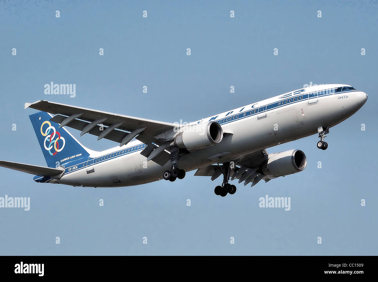 Olympic Airlines Airbus A300B4-600R (SX-BEM) landing at London Heathrow Airport. - Stock Image