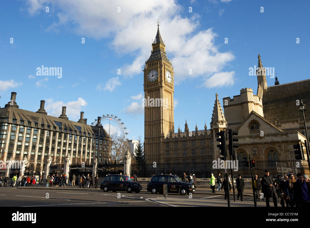view of palace of westminster from parliament square houses of parliament buildings London England UK United kingdom - Stock Image