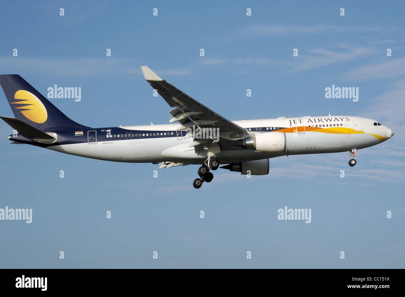 Jet Airways Airbus A330-200 (VT-JWF) lands at Birmingham International Airport, England. - Stock Image