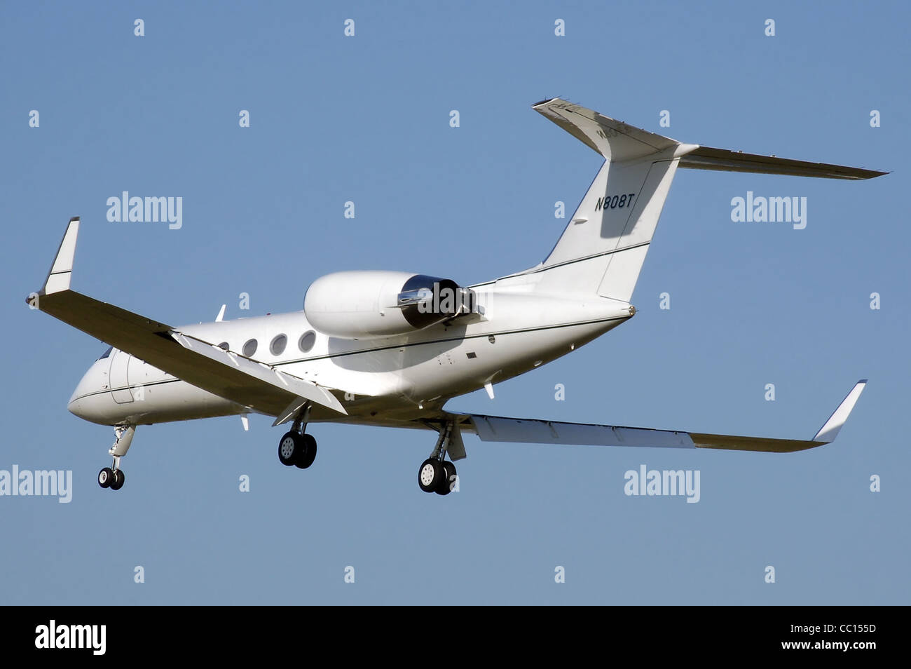 Gulfstream Aerospace G-IV-SP (N808T) business jet landing at London Heathrow Airport, England. - Stock Image