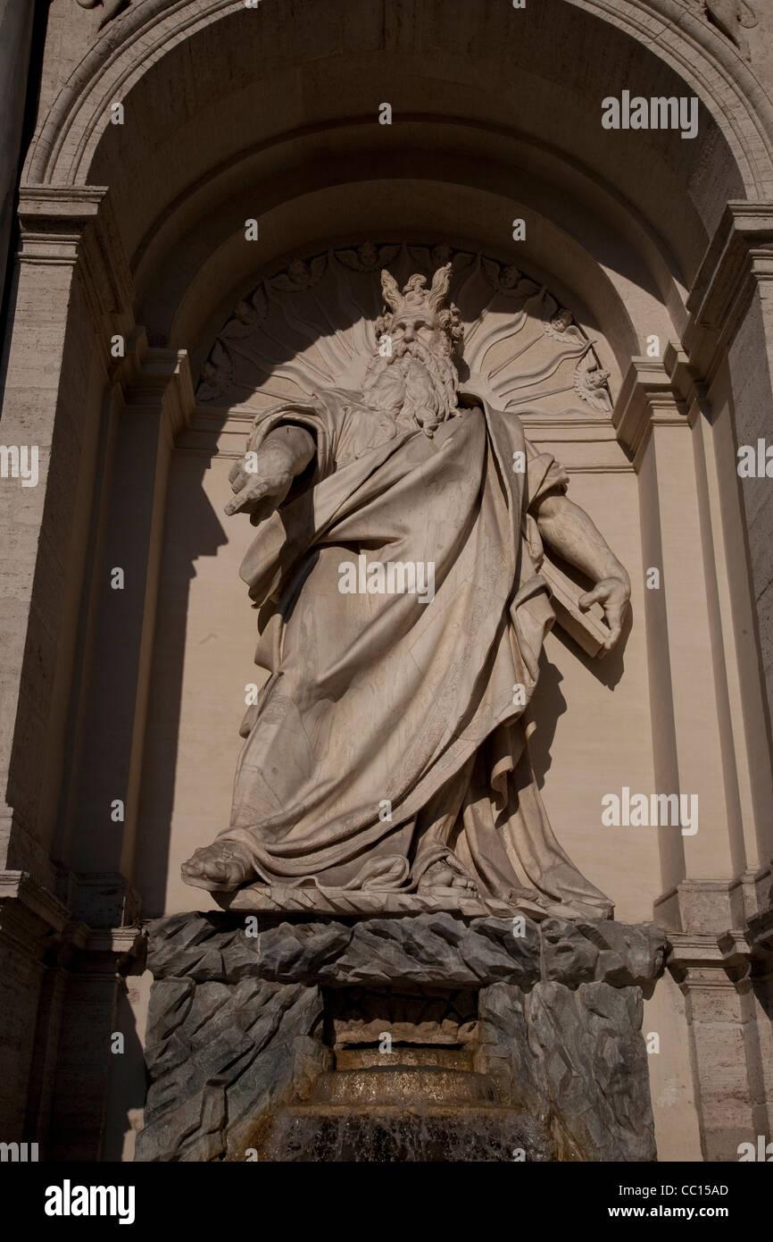 Statue of Moses at the Fontana dell Acqua Felice Fountain, Rome, Italy - Stock Image